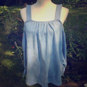 Joh Suede-like baby blue cold shoulder